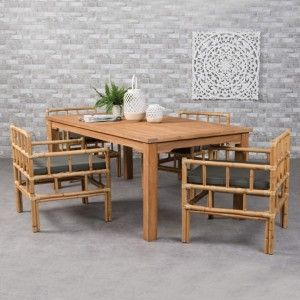 Table de jardin + Bois - Salon de jardin, table et chaise - Eminza