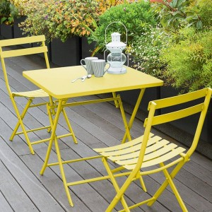 Table de jardin pliante carrée Métal Greensboro (70 x 70 cm) - Jaune