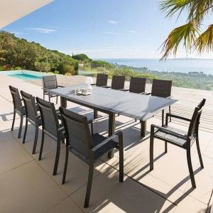 Table de jardin extensible HPL Allure (254 x 115 cm) - Graphite