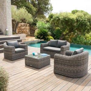 Salon de jardin, table et chaise + Résine tressée - Eminza