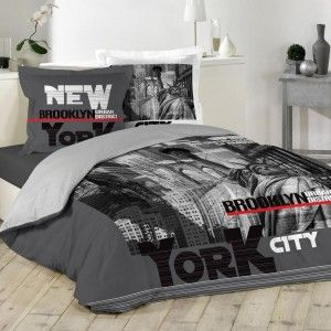 Housse de couette et deux taies coton (240 cm) NY District Gris anthracite