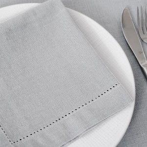 Lot de 4 serviettes Chambray Gris clair