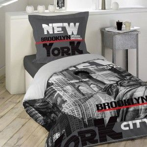 Housse de couette et taie coton (140 cm) NY District Gris anthracite