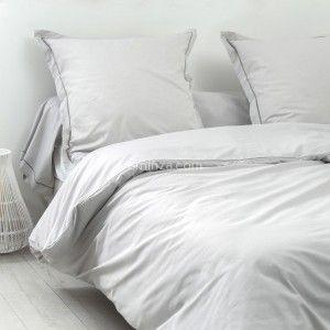 housse de couette lina coton 260 cm gris souris linge de lit eminza. Black Bedroom Furniture Sets. Home Design Ideas