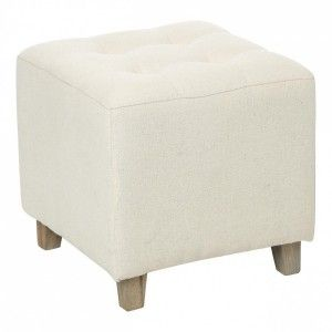 Hocker in Leinenoptik Leandre Beige