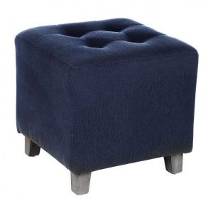 Hocker in Leinenoptik Leandre Blau