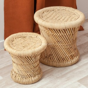 Lot de 2 tables d'appoint Corde Naturel