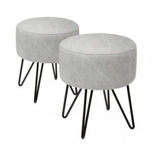 Lot de 2 tabourets Sven Gris clair