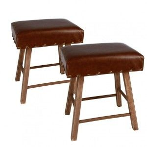 Lot de 2 tabourets Vintage Marron
