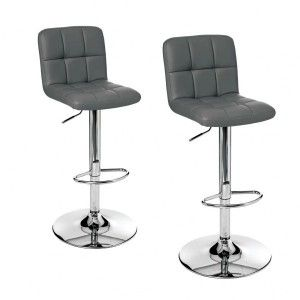 Lot de 2 tabourets de bar Delek Gris