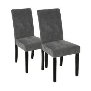 Lot de 2 chaises Velours Cleva Grises