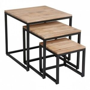 Lot de 3 tables basses Edena Noir