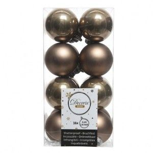 Lot de 16 boules de Noël (D40 mm) Alpine test Marron glacé