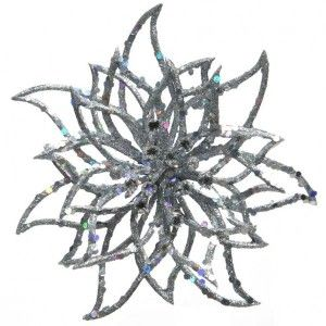 Winterblume  3D-Optik Silber