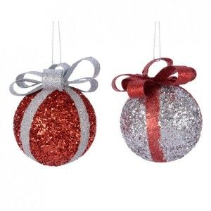 Lot de 2 boules de Noël (D80 mm) Noeud Rouge