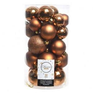 Lot de 30 boules de Noël Alpine assorties Cognac