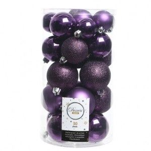 Lot de 30 boules de Noël Alpine assorties Violet