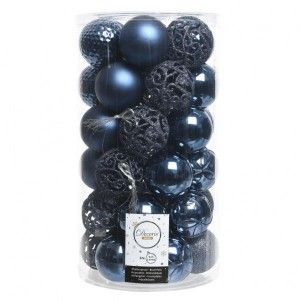 Lot de 37 boules de Noël (D60 mm) Alpine Mix Bleu nuit