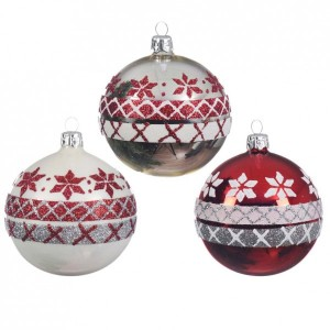 Lot de 6 boules de Noël (D80 mm) Spiridon Rouge