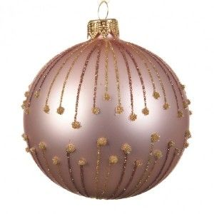 Lot de 6 boules de Noël (D80 mm) Polaris Rose poudré