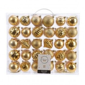 Lot de 60 boules de Noël Alpine unies Or