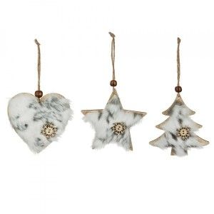 Lot de 3 suspensions de Noël Flocon Blanc
