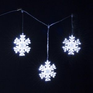 Stalactite lumineuse L0,90 m 3 Flocons Blanc froid 147 LED