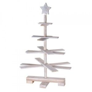 Sapin de table en bois Christmas H55 cm Blanc