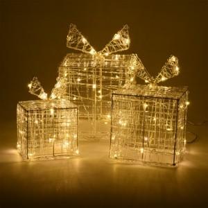 Lot de 3 cadeaux lumineux Blanc chaud 90 LED