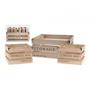 Set di 3 cassette Elise Marrone naturale