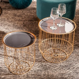 Lot de 2 tables d'appoint Valer Noir