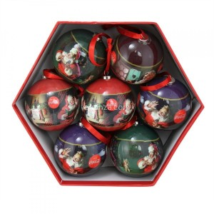 Lot de 7 boules de Noël (D75 mm) Coca-Cola Rouge