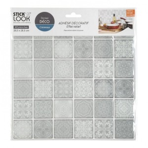 Lot de 2 planches stickers Carrelage Gris
