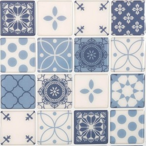 Lot de 2 planches stickers relief Carrelage Bleu