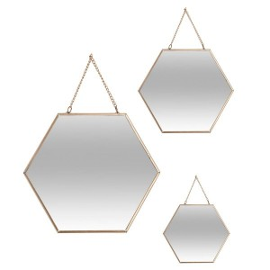 Lot de 3 miroirs Hexa Or