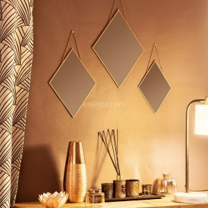 Lot de 3 miroirs Losange Or