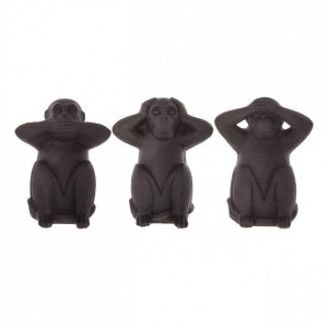 Lot de 3 singes Sagesse Noir