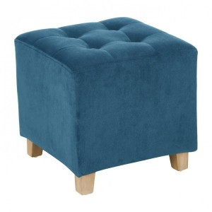 Hocker in Samtoptik Leandre Blau