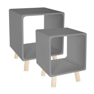 Set di 2 comodini Break Grigio