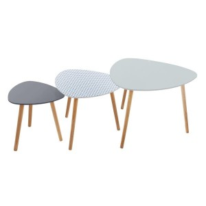 Lot de 3 tables à café Mileo Vintage Gris