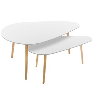 Lot de 2 tables Mileo grand modèle Blanches