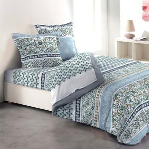 parure de draps coton lit 140 cm 4 pi ces bluemen bleu parure de lit eminza. Black Bedroom Furniture Sets. Home Design Ideas