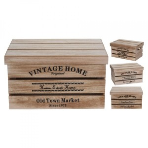 Lot de 3 caisses Old Town Marron naturel