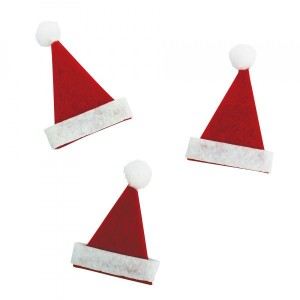Lot de 10 mini bonnets Père Noël 4,50 cm