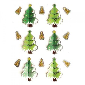 Lot de 8 stickers holographique sapin Vert