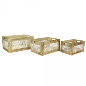 Lot de 3 cagettes Ethnical Life Naturel