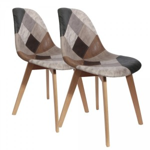 Lot de 2 chaises Patchwork Marron