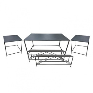 Lot de 3 tables et 2 bancs Black Noir