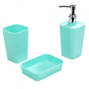 Kit accessori bagno Soft touch Verde menta