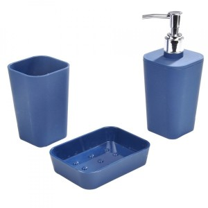 Kit accessori bagno Soft touch Blu indaco